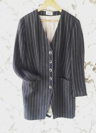 Удлиненный пиджак жакет натуральная ткань лён модеоь бойфренд