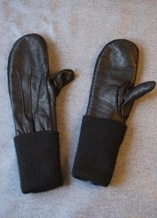 Крутейшие и очень теплые кожаные варежки