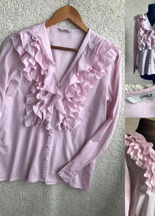 Красивая рубашка с воланами оверсайз