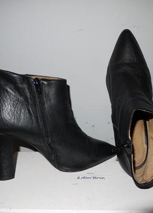 Selected femme полностью кожа , полусапожки черные на устойчивом каблуке . узкий носок