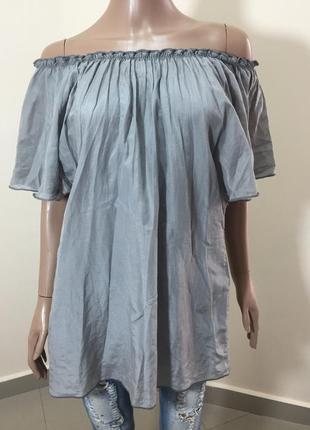 Розпродаж!!! сіра шовкова блузка тунічка з припущеними плечима