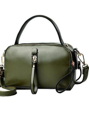 Классная маленькая темно-зеленая сумка, хаки через плечо