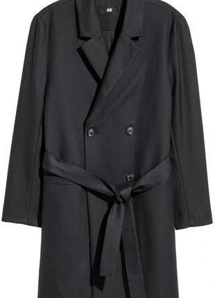 Черное пальто плащ тренч h&m