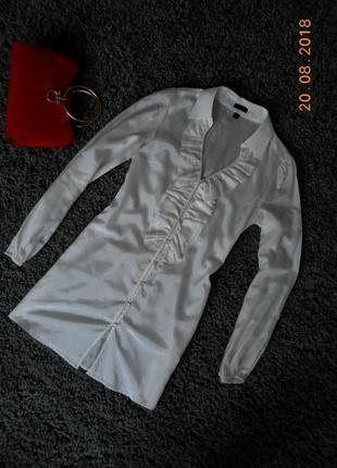 Блузка в винтажном стиле, удлиненная,рюши ,жабо,m -s