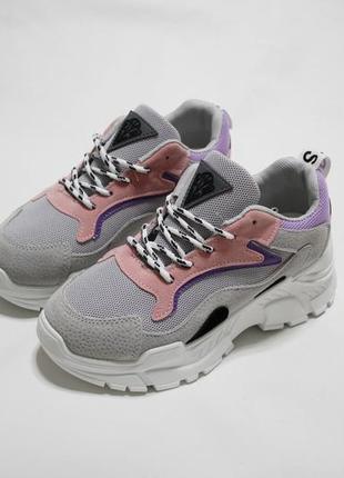 Стильные женские кроссовки (крипперы) на толстой подошве 6см.