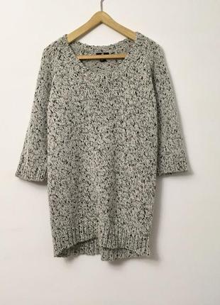 Вязаный свитер-платье, удлиненный оверсайз свитер, кофта,свободного кроя