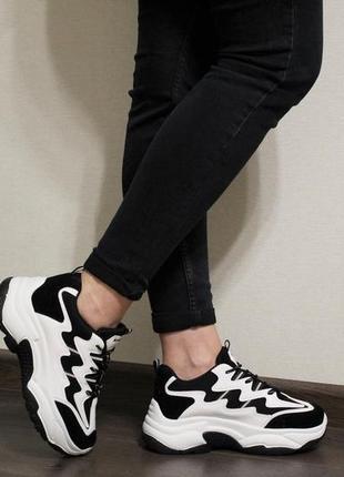 Хит 2019! модные женские черно-белые кроссовки (крипперы) на толстой подошве