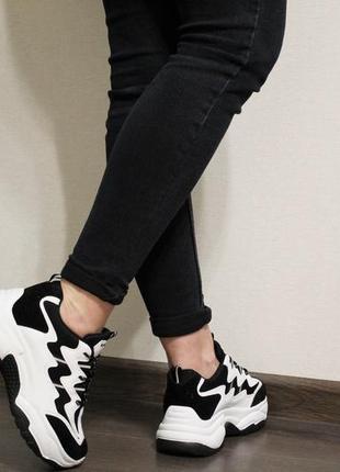 Хит 2019! модные женские черно-белые кроссовки (крипперы) на толстой подошве4