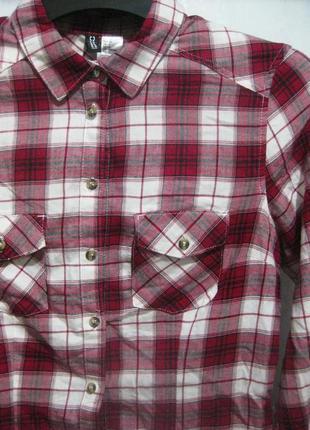 Рубашка h&m в клетку красная бордовая белая коттон хлопок