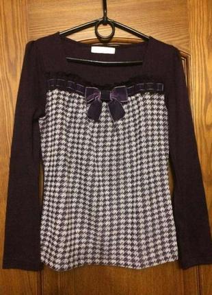 Кофта с принтом гусиные лапки свитер