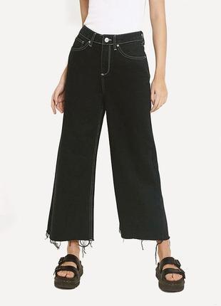 Стильные джинсовые кюлоты c контрастными швами