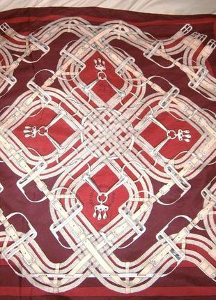 Большой винтажный платок hermes роуль шелк