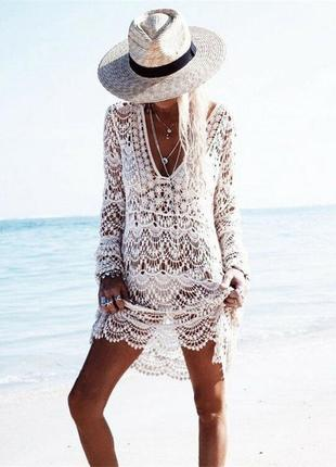 Пляжная туника белая кружевная