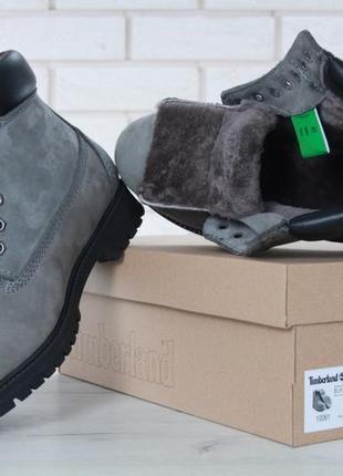 Серые зимние ботинки с натуральным мехом3