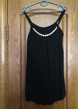 Майка туника блуза с бусиками шифон бусы черная