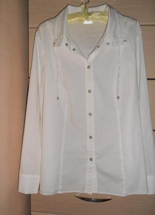 Брендовая стильная белая рубашка на кнопках