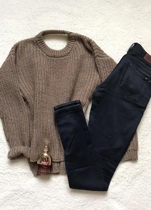 Базовый свитер оверсайз bershka, свитер крупной вязки, бежевый свитер