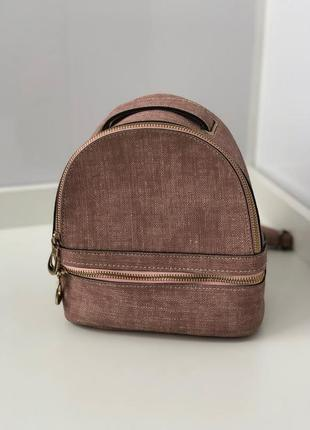 Пудровый маленький рюкзак под сафьянову кожу