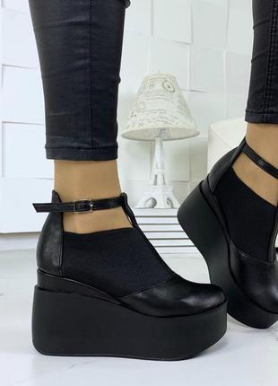 Ботильоны, ботинки, туфли черные натуральная кожа