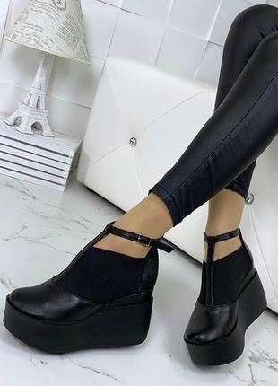 Ботильоны, ботинки, туфли черные натуральная кожа4 фото