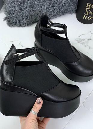 Ботильоны, ботинки, туфли черные натуральная кожа5 фото