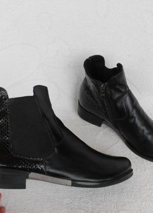 Демисезонные кожаные ботинки, ботильоны, челси 39 размера на низком ходу