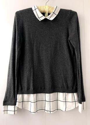 Стильный свитер с рубашкой блузой в клетку тренд