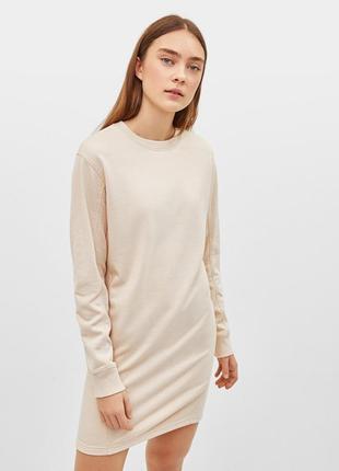 Платье свитшот тёплое бежевое