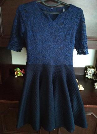 Сукня синя з кружевом