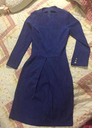 Синее классическое минималистичное платье