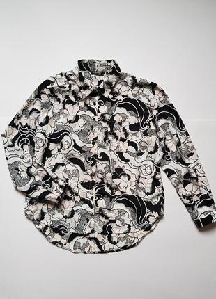 Стильная рубашка на девочку,рубашка в цветы,новая школьная блуза в орнамент на 10-11 лет