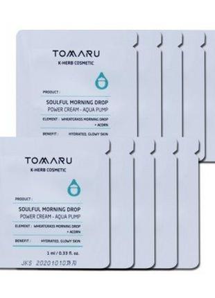 Увлажняющий крем-гель tomaru soulful morning drop power cream aqua pump пробник