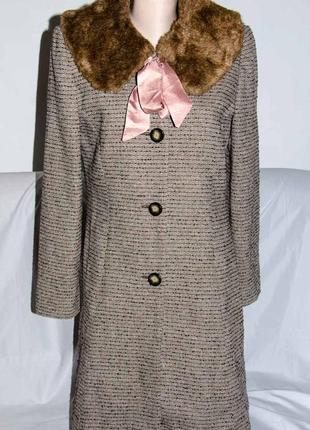 Твидовое демисезонное пальто со съемным воротником мorgan р. м