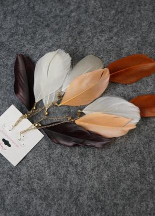 Супер длинные серьги перья - стильный сток2 фото