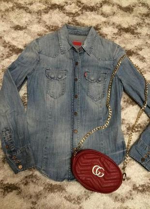 Фирменная джинсовая рубашка levis,яркая рубашка,блуза+подарок ремешок