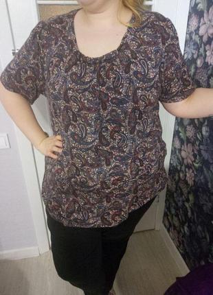Натуральная вискозная футболка с принтом огурцы от janina, 24 размер