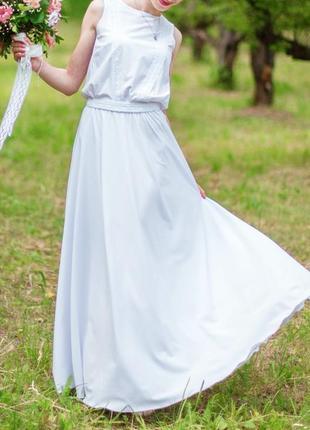 Белое платье макси adelin fostayn, платье с напуском, свадебное, выпускное