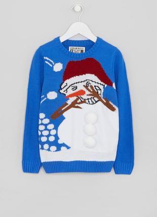 Забавный свитер со снеговиком новогодний джемпер, оригинал matalan 4 года, 104