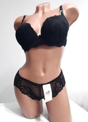 Сексуальный кружевной комплект бюстгальтер и трусики чашка с 80, 90 чёрный молоко