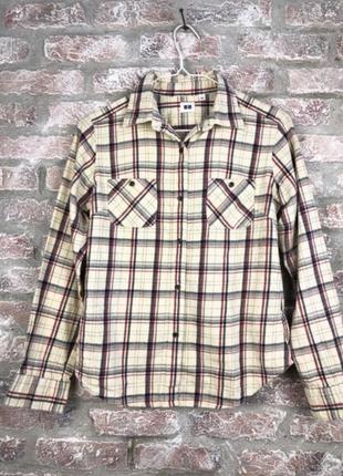 Стильная теплая рубашка в красивую клетку uniqio
