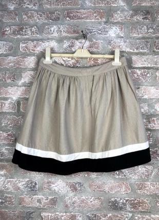 Льняная мини-юбка с каймой camaieu