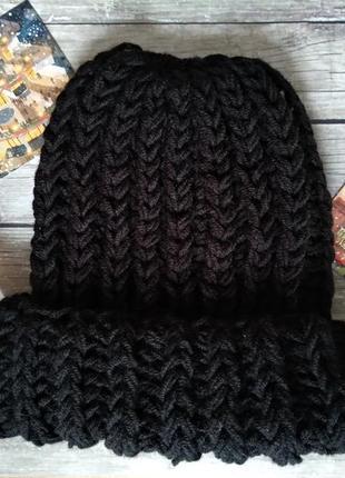 Sale! новая вязаная шапка черная hand made