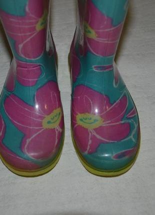 Детские резиновые сапоги цветы для девочки3
