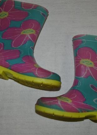 Детские резиновые сапоги цветы для девочки2