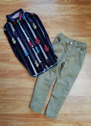 Коттоновые фирменные  штаны - брюки george для мальчика - возраст 3-4 года