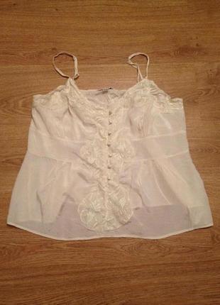 Стильная нежная майка блуза топ с кружевом / 3 xl