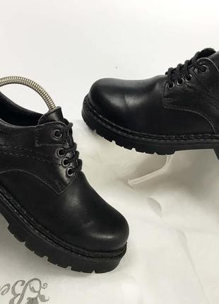 Дерби туфли на мальчика детские 36 размер кожаные на стопу 22.5 см чёрные оксфорды
