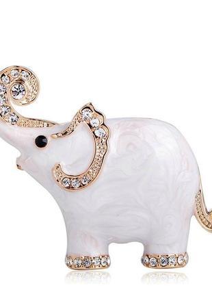 Брошь женская бижутерия с эмалью слоник на счастье br110799 белая