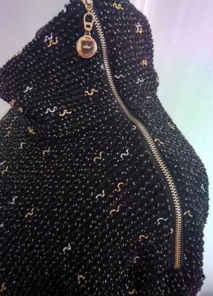Стильное платье рубашка фактурной вязки с карманами