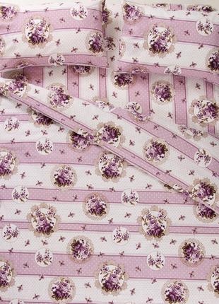Постельное белье lotus ranforce - vintage лиловый двуспальное2
